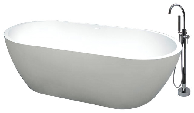 """Transolid Sherwood 71""""x32""""x21"""" Freestanding Tub And Faucet Kit, White."""