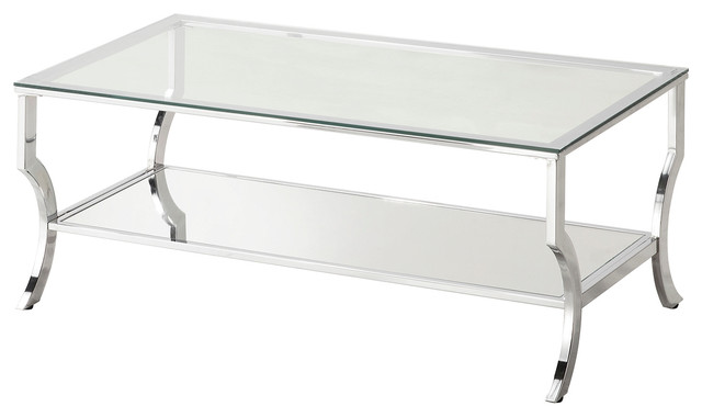 Glass Coffee Table, Mirrored Top Contemporary Coffee Tables