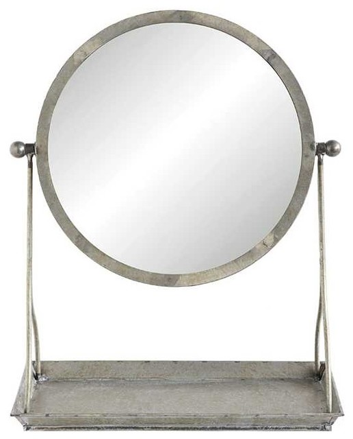 Distressed Metal Framed Mirror on Stand With Tray - Industrial ...