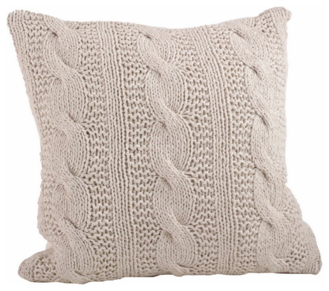 Cable Knit Design Throw Pillow, Vanilla.