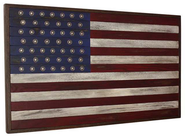 American Flag Wall Art american flag wall art, reclaimed oak with aged silver metal stars
