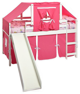 Girl Bunk Beds With Slide, Pink Loft With Top Tent Kit
