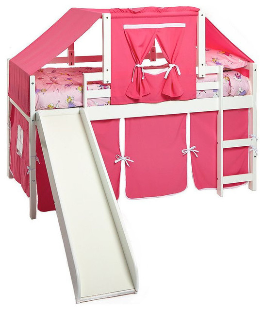 Girl Bunk Beds With Slide, Pink Loft With Top Tent Kit.