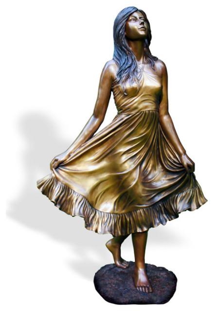Debutant Girl Brass Garden Statue Transitional Garden Statues And Yard Art