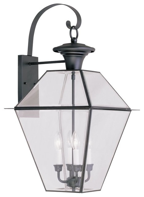 Westover Four Light Outdoor Wall Lantern Black Clear Beveled Glass