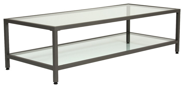 Beau Studio Design Camber Collection Rectangle Clear Glass Coffee Table, Pewter