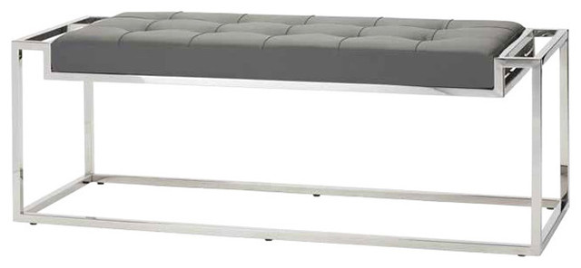 Step Occasional Bench, Gray Polished Stainless, Large.