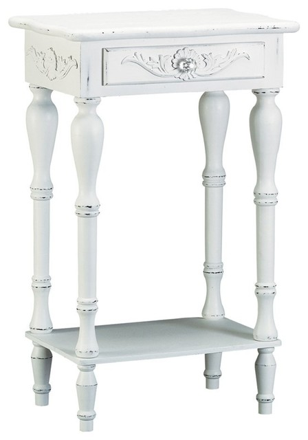 Accent Distressed White Wooden Telephone Table With Drawer.