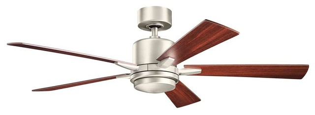 "Kichler Lucian Ceiling Fan With Light, Brushed Nickel, 52""."