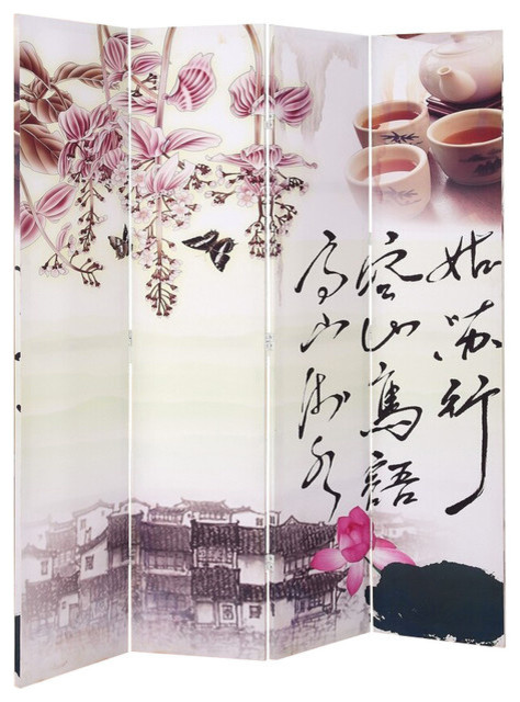 Oriental Chinese Style Scenery Art Wood Canvas 4 Panel Room Divider