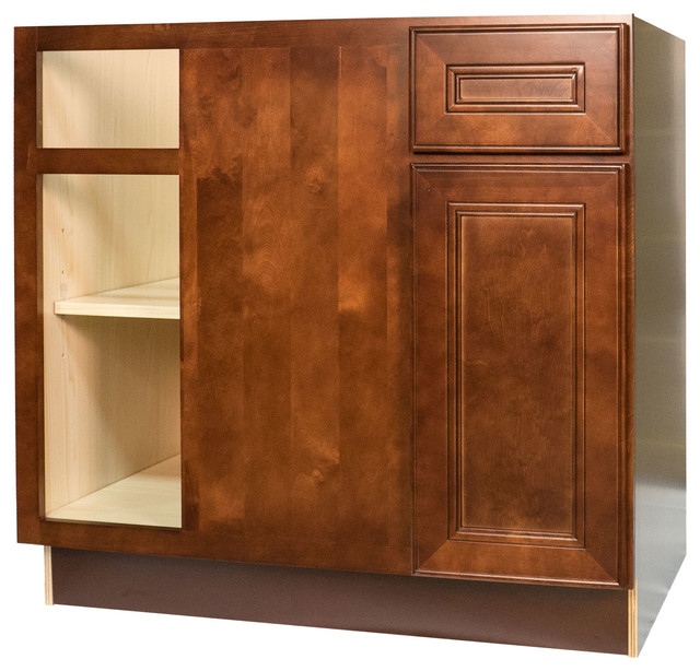 Everyday Cabinets - Cherry Mahogany Brown Leo Saddle Blind Corner Base Cabinet & Reviews | Houzz