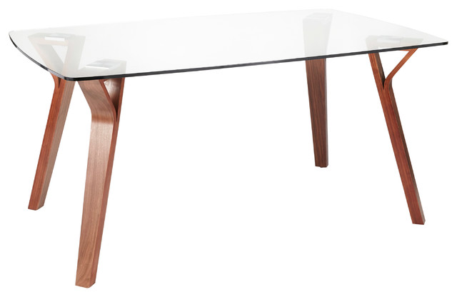 Folia Mid-Century Modern Dining Table, Walnut Wood With Clear Tempered Glass
