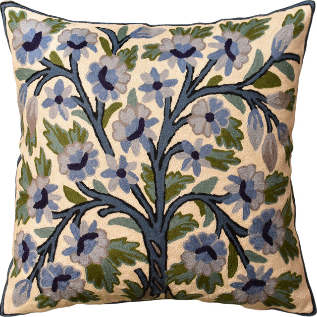 Fl Ivory Blue Tree Of Life Accent Pillow Cover Handembroidered Wool 18 X18