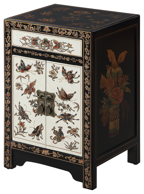 touch of asia 1 drawer cabinet end table blackwhite asianside