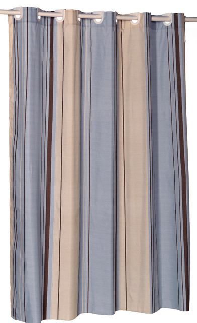 EZ ON Stripes Polyester Shower Curtain In Light Blue Curtains
