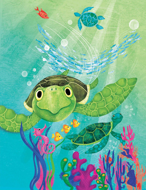 "sea turtle"" painting print on canvascurtis - beach style - kids"