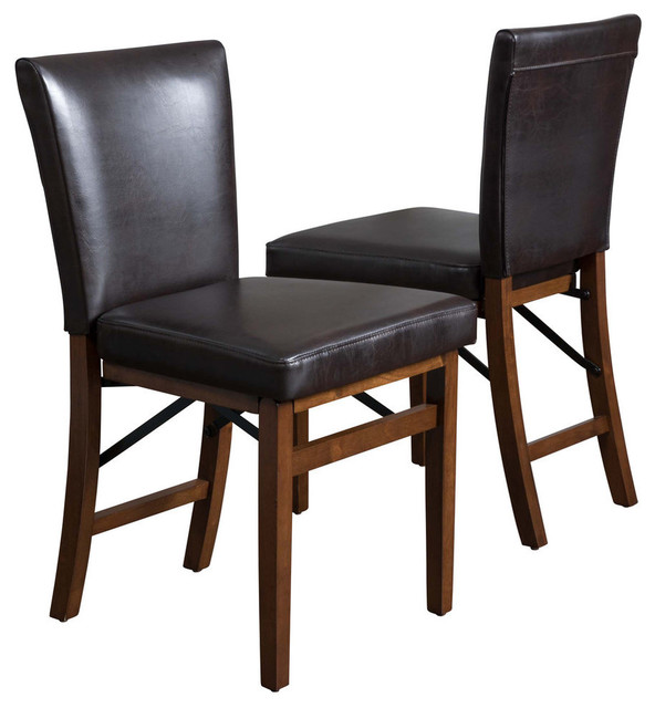 Super Gdf Studio Rosalynn Brown Leather Folding Dining Chairs Set Of 2 Theyellowbook Wood Chair Design Ideas Theyellowbookinfo