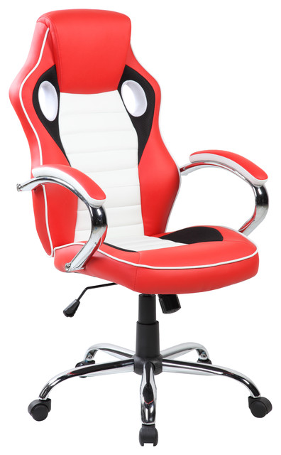 High Back Pu Swivel Gaming Chair Crimson Red Jet Black Frost