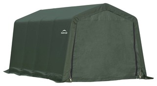 8'x16'x8' Peak Style Shelter, Green Cover