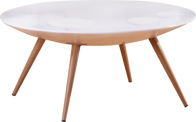 Modern Round Coffee Table, High Gloss White.