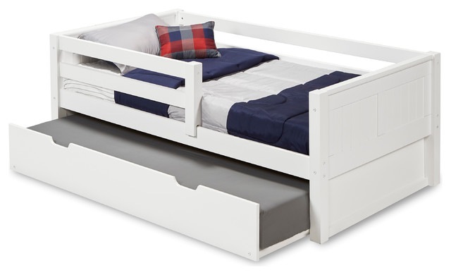 Salton Daybed With Guardrail And Trundle, White, Twin.
