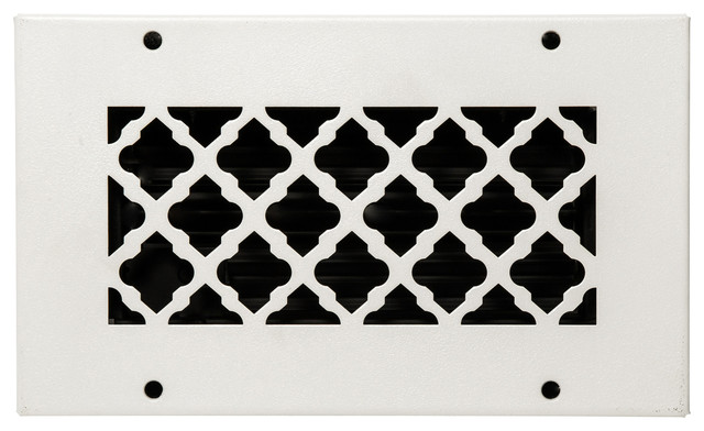 "Solid Steel Return Vent Cover, White, Fits Duct Opening 8""x4""."