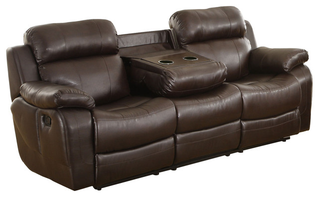 Leather Reclining Three Seater Sofa With Center Drop Down Cup Holder ...