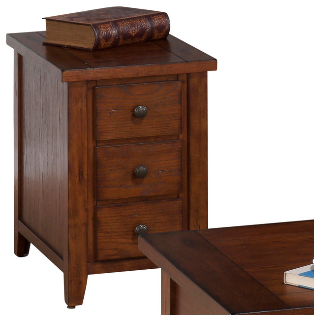 Jofran 4437 Clay County Chairside Table with 3 Drawers in Oak
