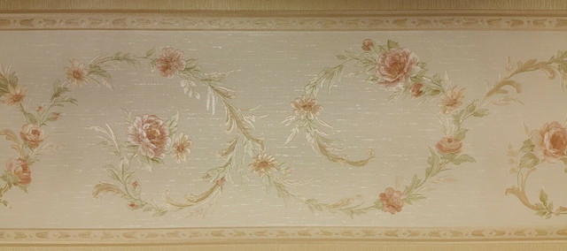 Pink Flowers On Green Vine Textured Wallpaper Border Imperial