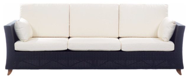 Rattan 4 Seater All Weather Wicker 8&x27; Sofa With White Cushion.