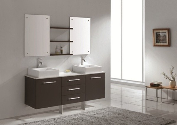 Florencia 1600 wall hung double basin vanity for Double bathroom sink basin