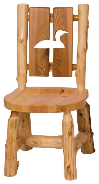 fireside lodge furniture company cutout cedar log side chair pine tree dining chairs houzz - Lodge Furniture