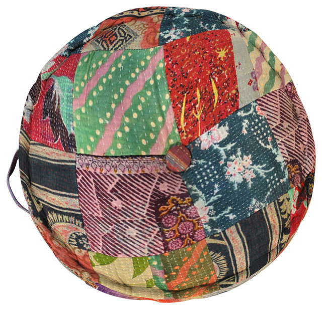 Vintage-Style Patchwork Meditation Cushion - Eclectic - Floor ...