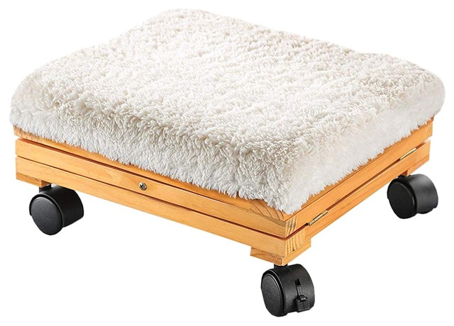 online retailer 4d634 40fba Etna Sherpa Top Foot Rest - Rolling Collapsible Cushioned Foot Stool Ottoman