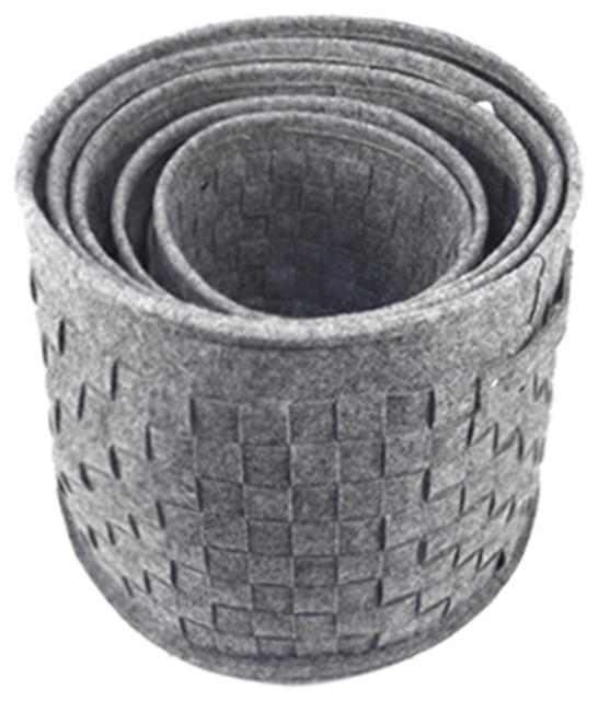 """Round Felted Woven Storage Baskets, Set Of 5, 14"""", Dark Gray."""