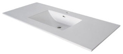 "Juno Seamless Ceramic Sink Top, Gray, 8"" Spread Holes, 31""."