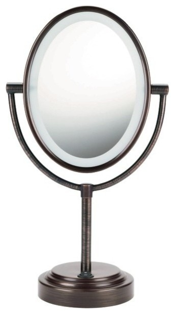 Double Sided Lighted Mirror Oiled Bronze Contemporary