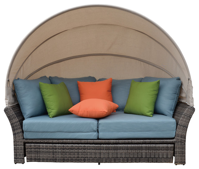 Coutyard Casual Taupe Eclipse Outdoor Expandable Oval Daybed with Canopy