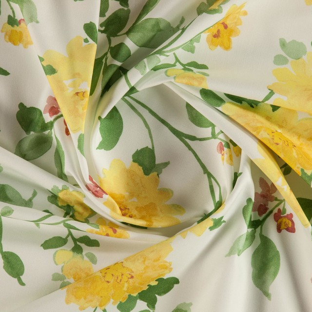 Bronte 004 Printed Floral Curtain Fabric Gold Yellow Sample