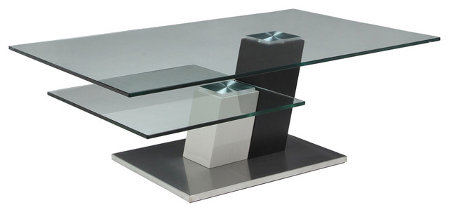 High Quality Pastel Kaffina Rectangular Glass Coffee Table In Stainless Steel And Wenge  Wood Contemporary Coffee
