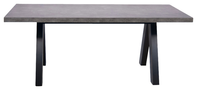 Attractive Apex Dining Table, Pure Black Faux Concrete Tropical Dining Tables