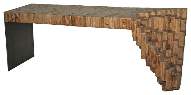 Lassi Global Bazaar Sculptural Reclaimed Wood Metal Console Table.