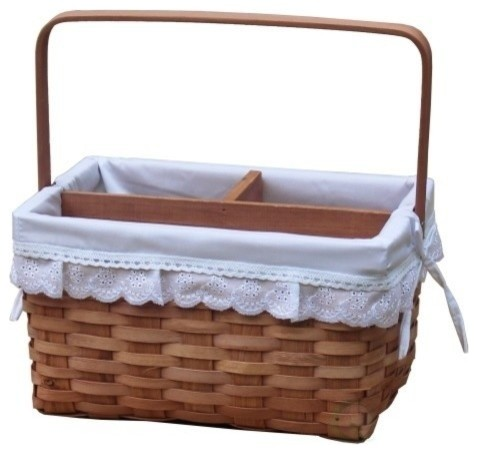 Woodchip Picnic Caddy Basket Lined With Lace Trim.