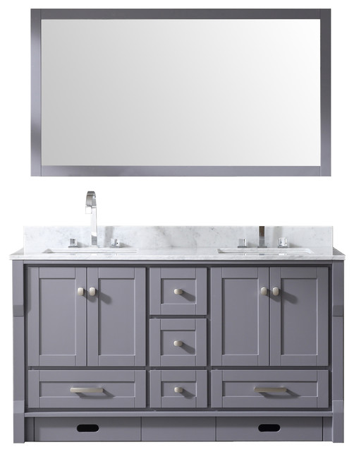 60 Double Bowl Vanity With Step Stools Gray Carrara Marble And Mirror
