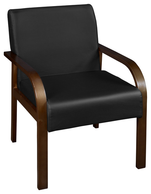 Wondrous Niche Mia Bentwood Lounge Side Chair Mocha Walnut Black Vinyl Ncnpc Chair Design For Home Ncnpcorg