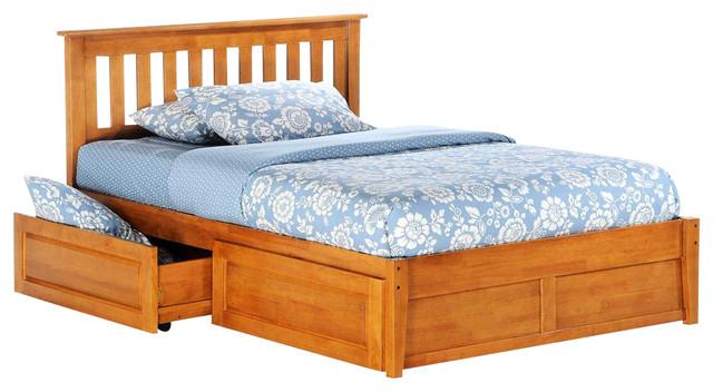 Platform Beds W Drawers : Rosemary platform bed in medium oak w storage drawer
