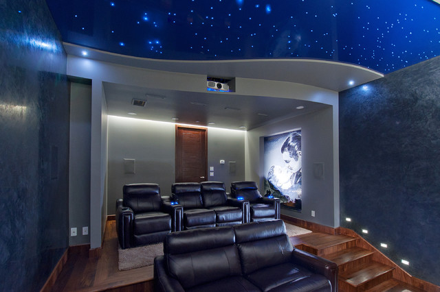 Lovely Transitional Home Theater Photo In Vancouver