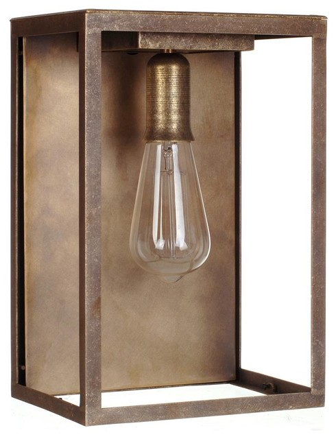 Rustic Wall Lights Nz : Finsbury Lantern in Antiqued Brass - Rustic - Outdoor Wall Lights - by Jim Lawrence