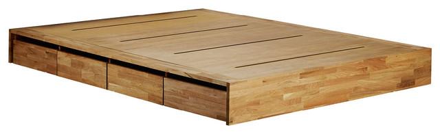 Mash Lax Platform Solid Wood Storage Bed, King Platform Only.