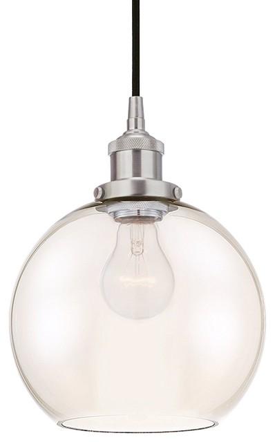 Transitional Pendant Light + Tinted Glass Globe Shade, Brushed Nickel Finish.